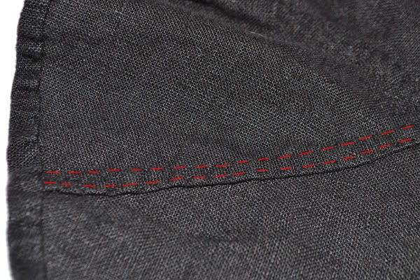 I used running stitches for the seams (outlined in red for visibility).