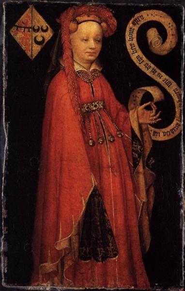 Portrait of Lysbeth van Duvenvoorde, Anonymous, c. 1430, Rijks Museum .