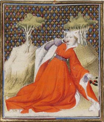 Giovanni Boccaccio,De Claris mulieribus (f.122r)c.1403.   Bibliothèque nationale de France, Département des Manuscrits, Français 598  .