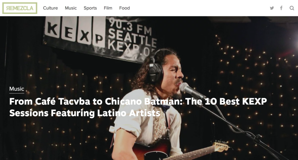 """REMEZCLA - My KEXP show made it on Remezcla's """"Top 10 Best KEXP Sessions featuring Latino Artists"""". Truly humbled and speechless to be considered alongside many artists that I admire Helado Negro, Balún, Café Tacvba, Rubio, Sagán…"""