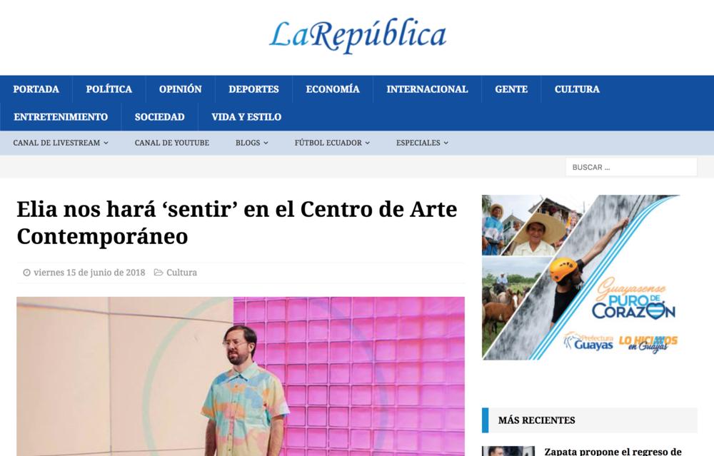 """La república - """"El cantante ecuatoriano Ignacio Izquierdo, más conocido como Elia, se presentará este 20 de junio a las 19:00 en el Centro de Arte Contemporáneo (CAC) con motivo de su gira por Ecuador, la cual irá por Cuenca y Guayaquil."""""""