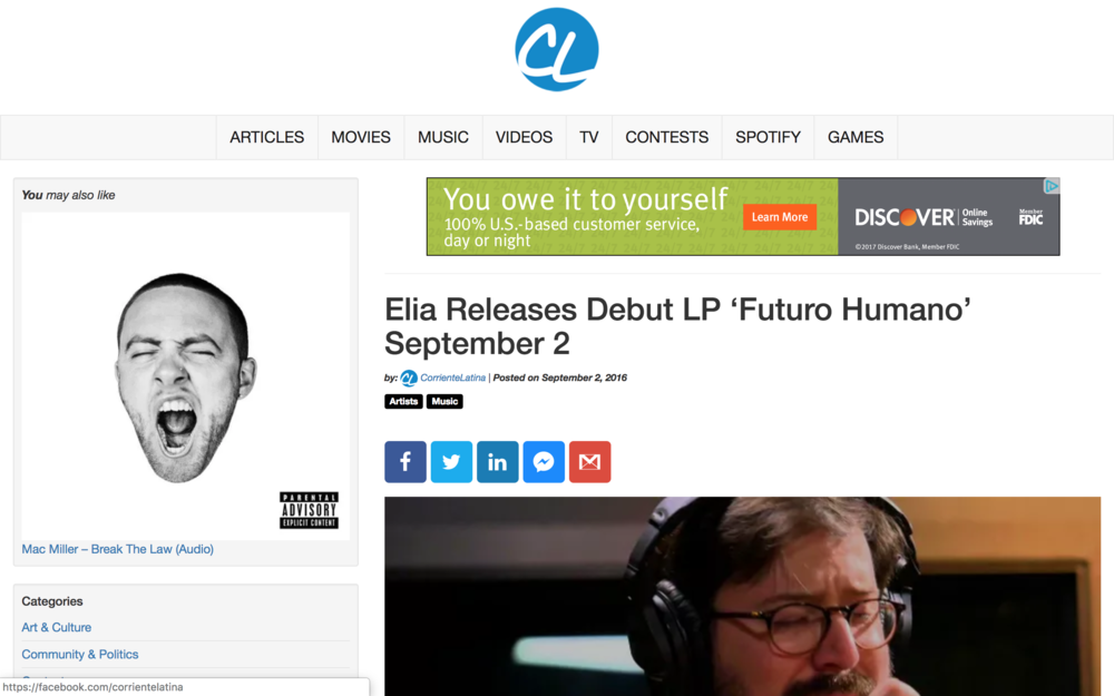 """CORRIENTE LATINA - """"Elia Releases Debut LP 'Futuro Humano' September 2. Recorded in his native Ecuador, the album is a radiant mixture of electronic and alternative melodies, lyrically inspired by the loss of his first daughter."""""""
