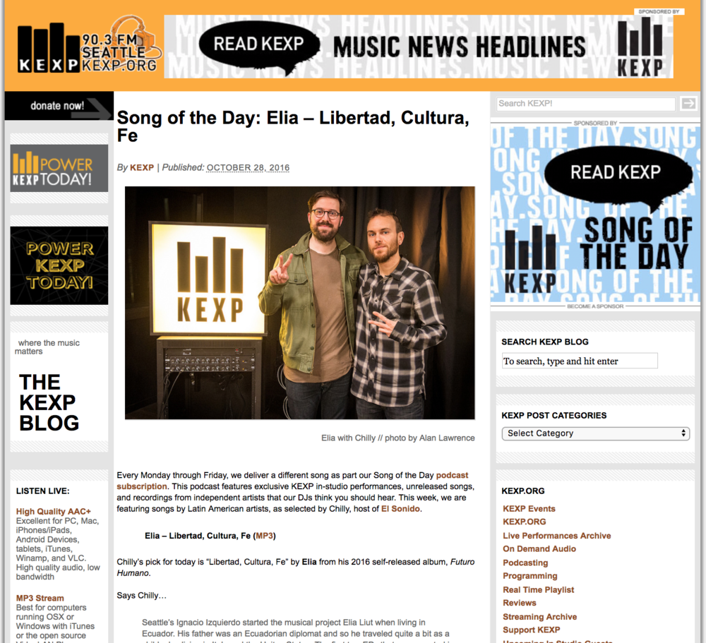 """kexp """"song of the day"""" - """"Every Monday through Friday, we deliver a different song as part our Song of the Day podcast subscription. This podcast features exclusive KEXP in-studio performances, unreleased songs, and recordings from independent artists that our DJs think you should hear. This week, we are featuring songs by Latin American artists, as selected by Chilly, host of El Sonido."""""""