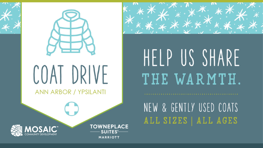 We ended our Winter Coat Drive on December 10th, however, through our distribution efforts, we discovered that the need in our local elementary schools is far greater than anticipated. There are many K-5 students that are in immediate need of coats, gloves, hats, and scarves. Even $10 will cover a discounted new coat or several other items. Thank you in advance. For more information or if you wish to help distribute donations, email  ryan@mosaicdev.org . Click the button below to donate now.  Please share!