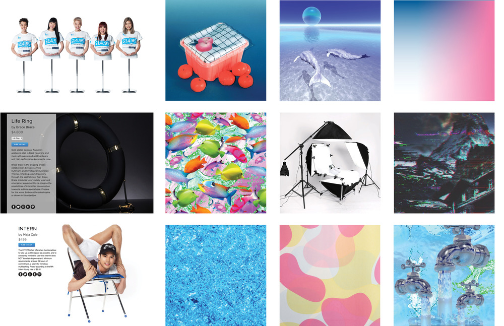 Mood board- Includes products by DISOWN and color samples from various digital artists and Karim Rashid.