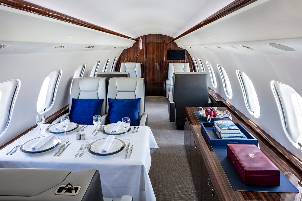 Private jet plane interior