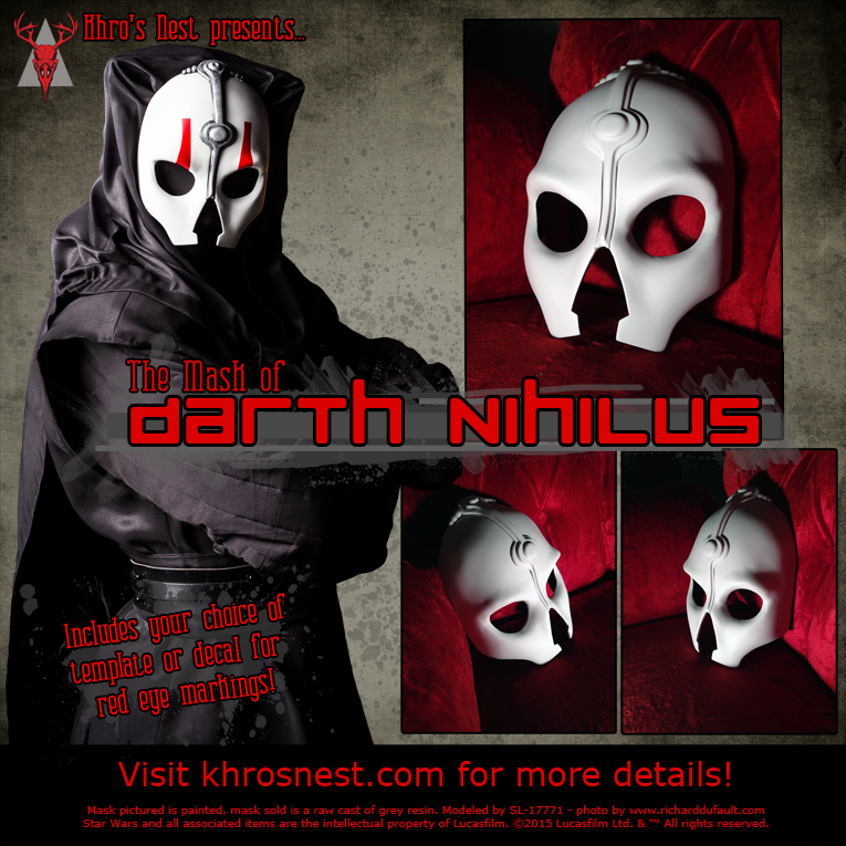 Darth Nihilus Mask - raw cast with the one Red Vinyl Decal Eyebrow, and a White Removable Template for hand/airbrush painting.