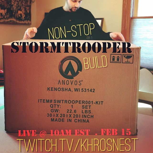 Join us in a few hours for @khrosnest 's non-stop live #ANOVOS #Stormtrooper build! With special appearances by @kimbles ! #starwars #khro #tr55707 #build #kit #maker #create #creative #bigbrownbox