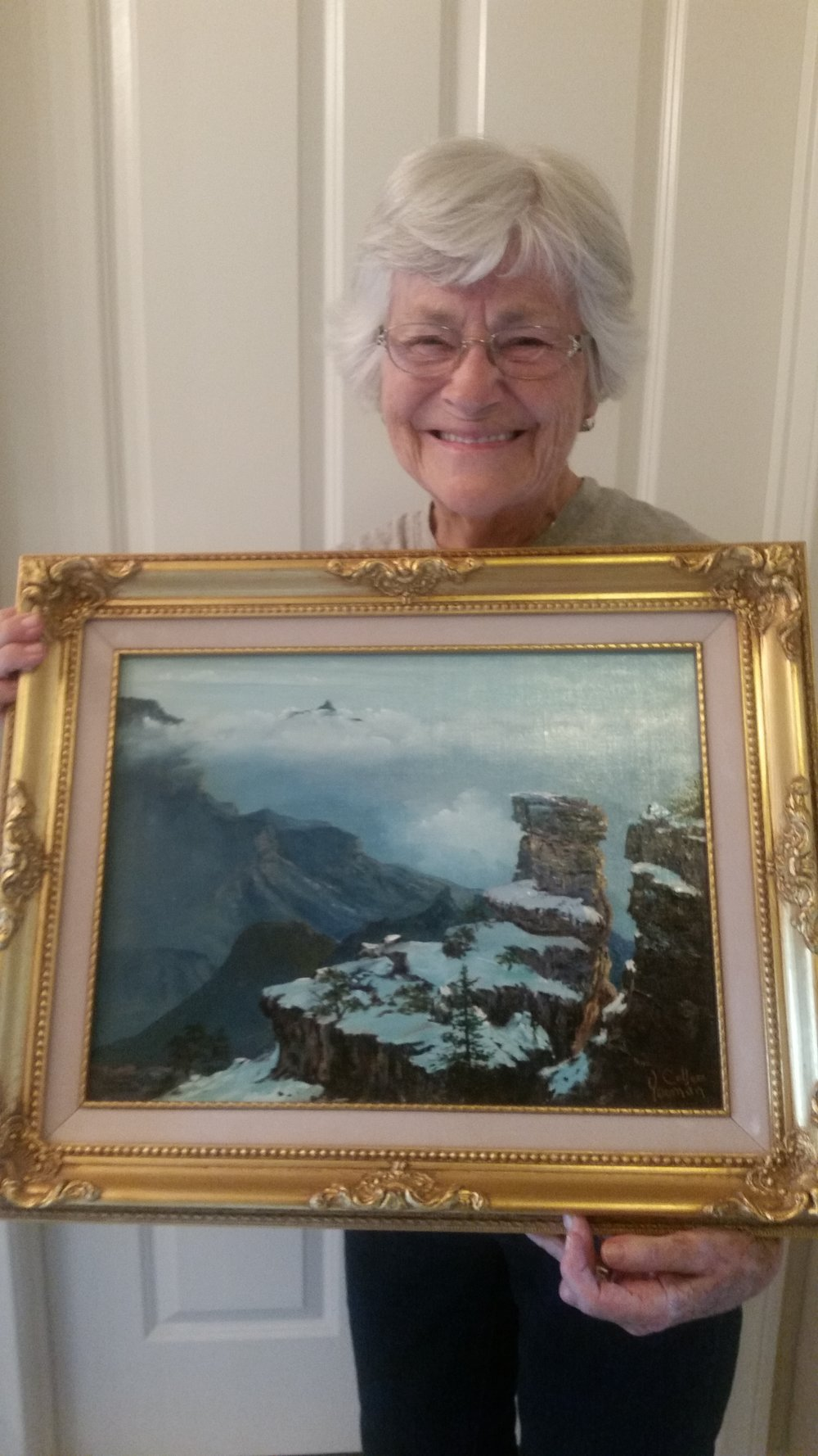 Sister Yeoman with an original landscape.