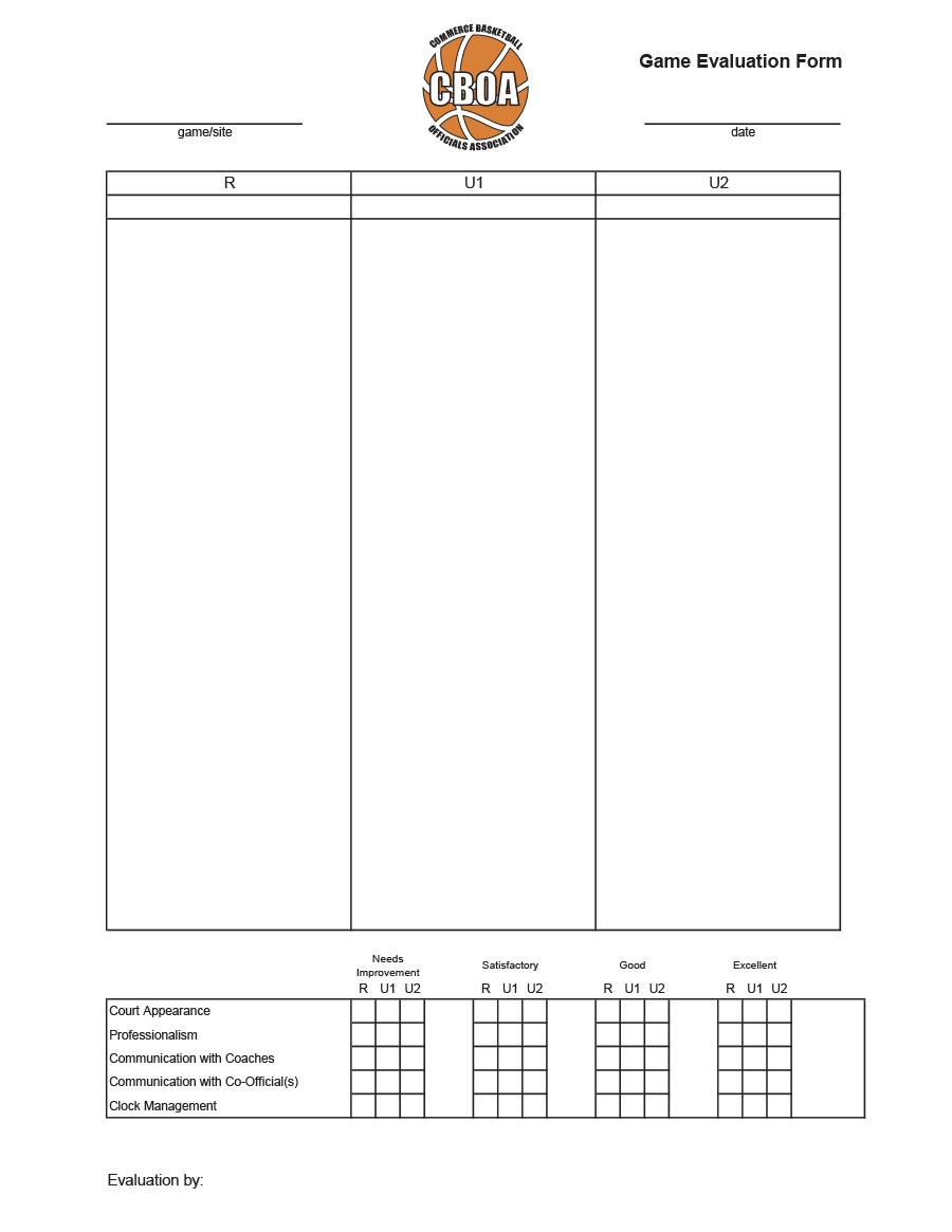 Game Evaluation Form