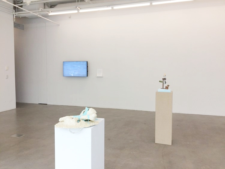 Installation view of works created during the Plug In ICA Summer Institute with Chris Kraus 2017. Shown: Kristina Banera (back left), Chloë Lum (centre left), and Maegan Hill-Carroll (back right).