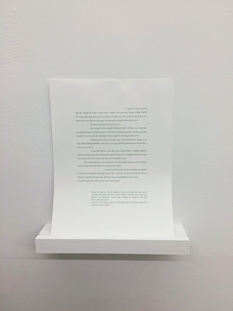 Installation view of text work for Lockport Wave, 2017 by Kristina Banera.