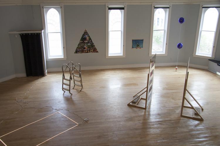 Installation view of Junkhaus 1. Exhibition features work of Alex Atteah, Kristina Banera, Hannah Doucet, Jessica Evans, John Patterson, Daniel Romphf, and Rachael Thorliefson.