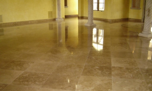 slippery travertine floor treatment