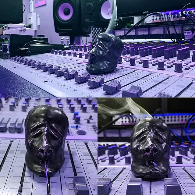 "Somehow this head I made in highschool has followed me to the studio after all these years. Whether used as an ashtray or Incense holder, ""Where's the head?"" Is a common phrase uttered here. #punk #recordingstudio#recording #audio#music #musician #musicians#studiolife #rock #drums #singer #guitar #artist#indierock #drummer #guitarist #art #guitars #life#bassist#bands #vocals#sound #percussion #fader #nostalgia #studio #artist  #exeterrecordings #head #speakers"