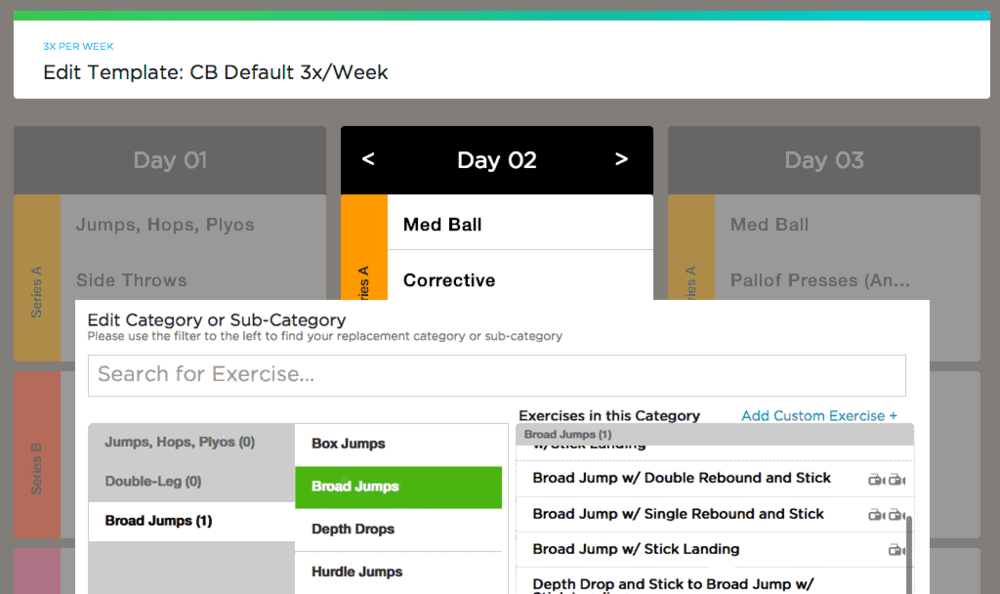 Use the amazing variety of the 11,000 movement Exercise Vault to quickly customize your templates and workouts on-the-fly.