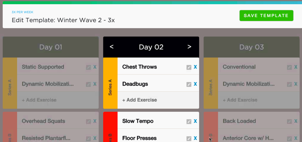 The Template Creator showing 3x per week planning - select the number of workouts per week you need