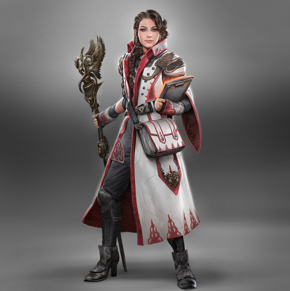 Art by Ryan Lee.   We were asked to design new characters so I thought we'd pay homage to classic Final Fantasy archetypes and update them to fit it into the more modernized FFXV setting. This character is a healer / medic, a reference to the 'White Mage' class.