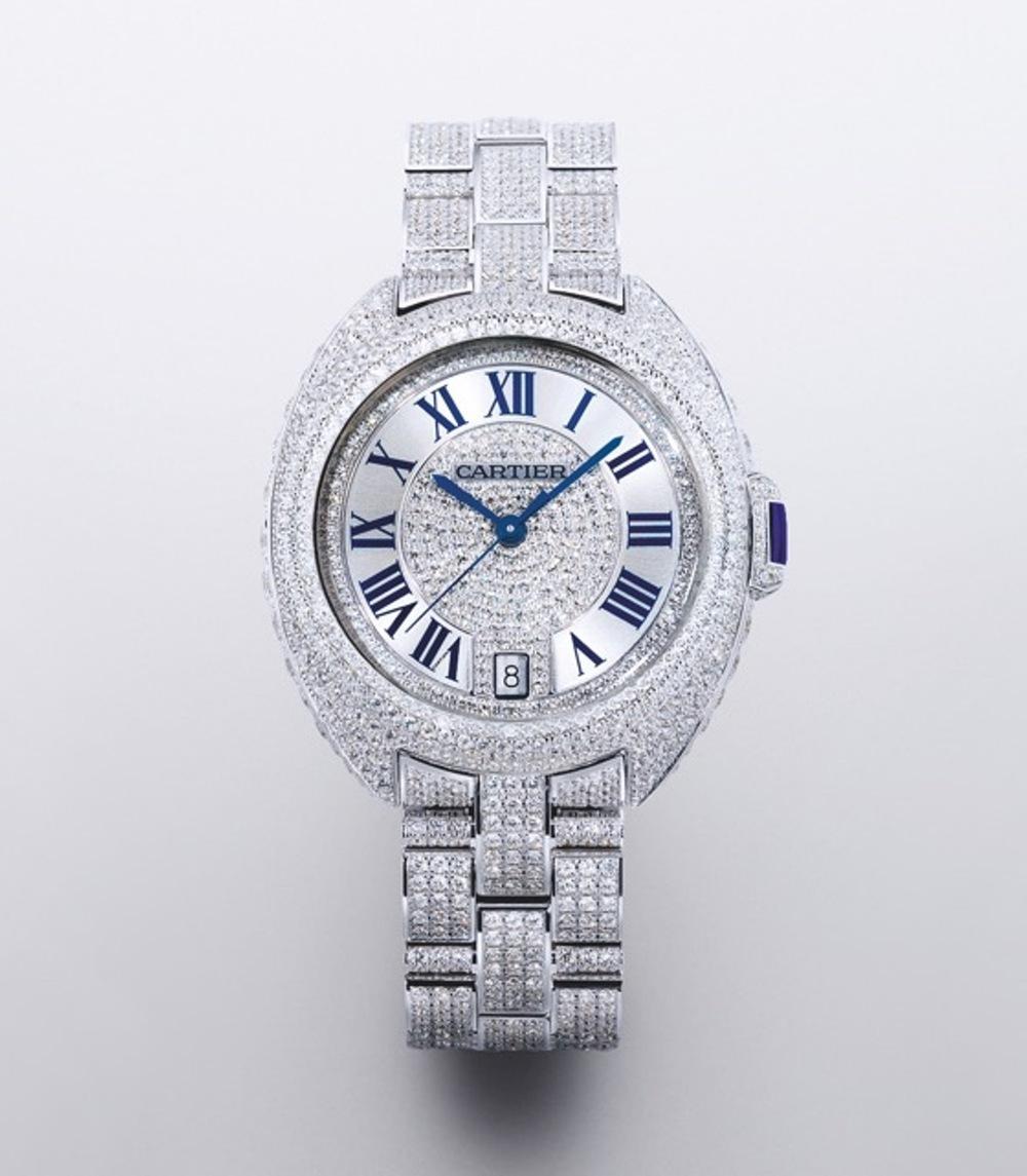 Joalheria Sara - Relógio Cl� de Cartier em diamantes e safira media.jpg