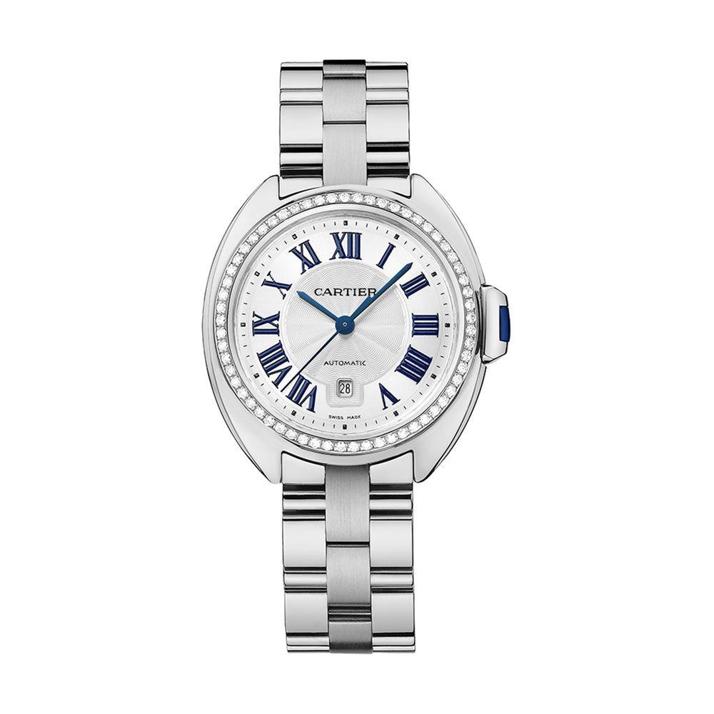 Joalheria Sara - Relógio Cl� de Cartier ouro branco com diamantes e safira alta.jpg
