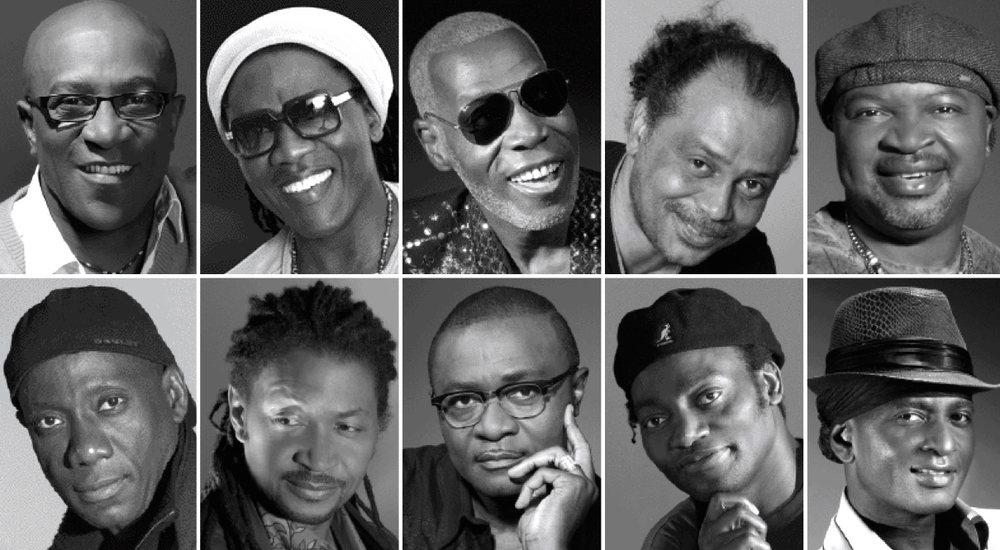 "Cameroonian Bassists honored in the exposition (top left to right): Vicky Edimo, Richard Bona,  Jean Dikoto   Mandengue, Guy Nsangue, Andre Manga,  Francis Mbappe, Hilaire Penda, Richard Epesse, Gros Ngolle Pokossi, and Stephane Manga ""Kool Bass"""