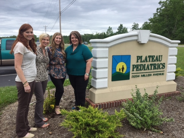 Pictured here (left to right): Sheri Burnett, Clinical Supervisor of Plateau Pediatrics, Natalie Whorton, Therapist for MHC, Brianna Grant, Pediatric Practices Supervisor for MHC, Villa Edwards, Practice Administrator of Plateau Pediatrics.