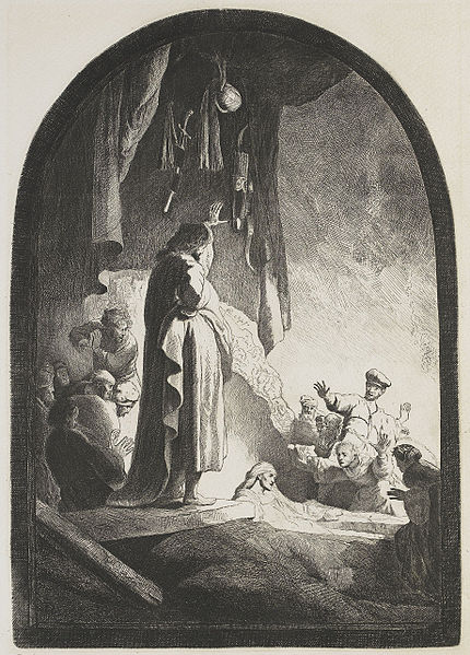 """The Resurrecting Christ"" and etching by Rembrandt"