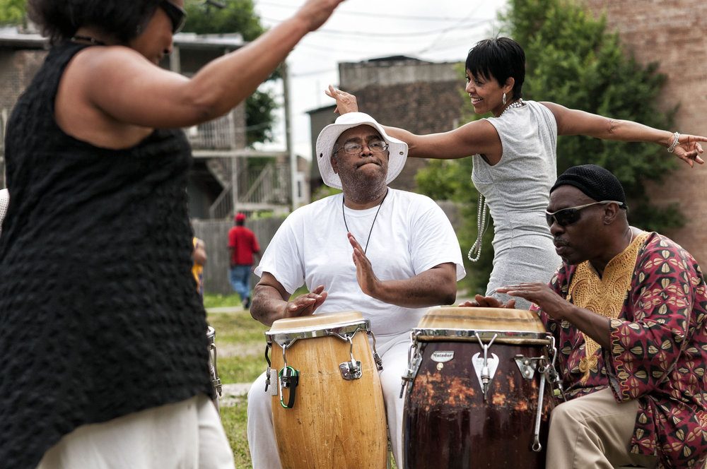 An early action project coming out of Englewood's Quality-of-LIfe planningis the African Drumming Circles – Cultural Lessons in Community Peace, which is part of the Public Safety and Security task force. The drum circles are scheduled throughout the community in public areas. (LISC Chicago - July 7, 2016)