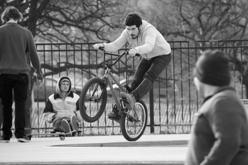 Skate park at Montrose Beach in Chicago, IL.