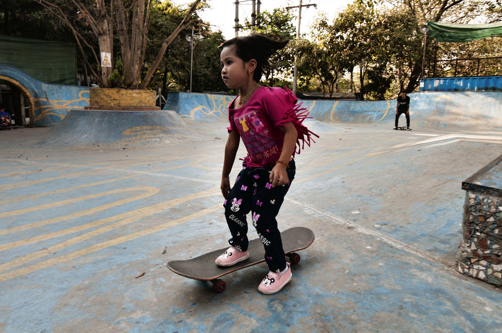 Aye's favorite part of skateboarding is feeling the wind in her clothes and hair.