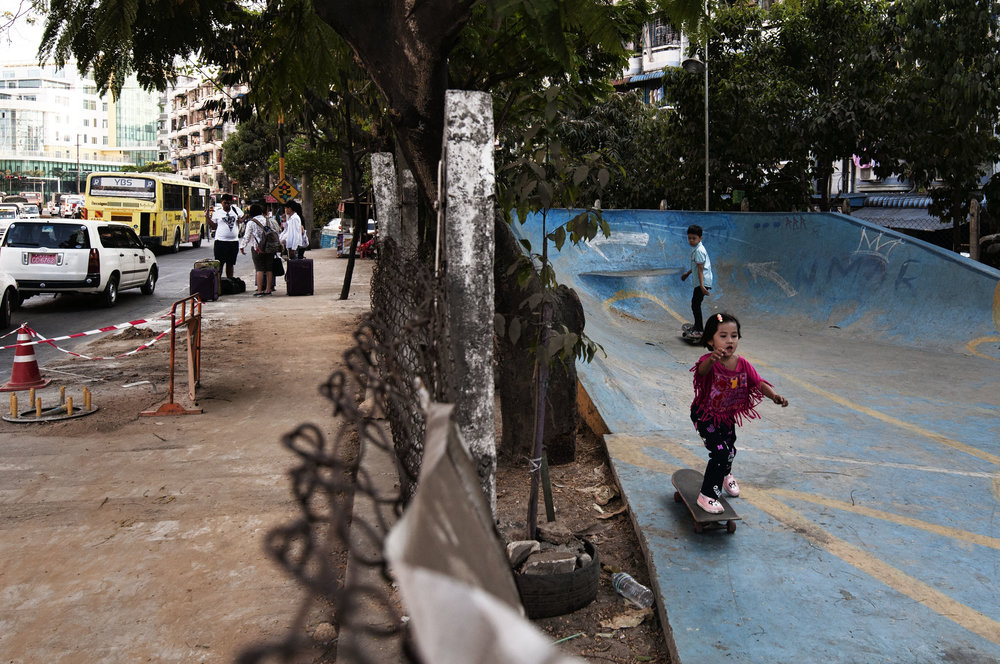 The skatepark is nestled between a busy road and the residential road where Aye lives.