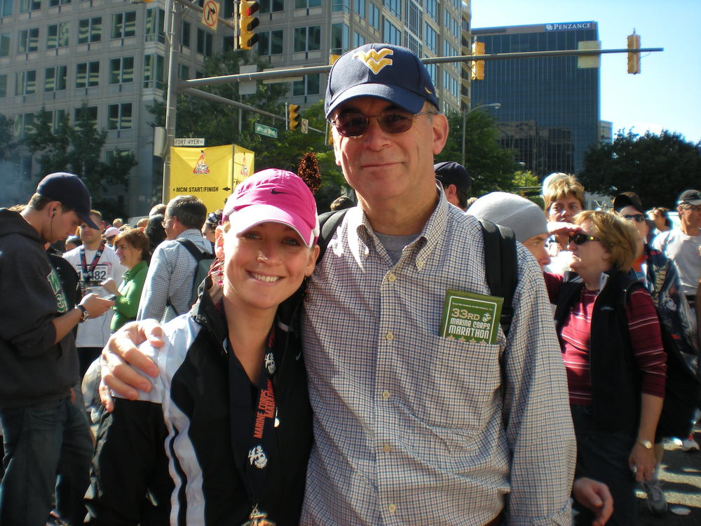 Jen and her dad at the Marine Corps Marathon
