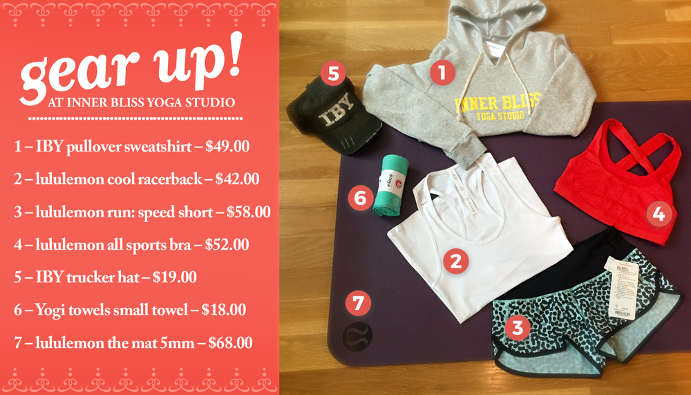 1 – IBY pullover sweatshirt – $49.00 2 – lululemon cool racerback – $42.00 3 – lululemon run: speed short – $58.00 4 – lululemon all sports bra – $52.00 5 – IBY trucker hat – $19.00 6 – Yogi towels small towel – $18.00 7 – lululemon the mat 5mm – $68.00