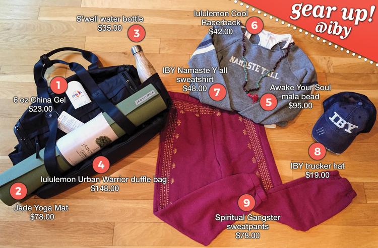 2bc1760b29 6 oz China Gel – $23.00; Jade yoga mat – $78.00; S'well water bottle –  $35.00; lululemon Urban Warrior duffle bag ...