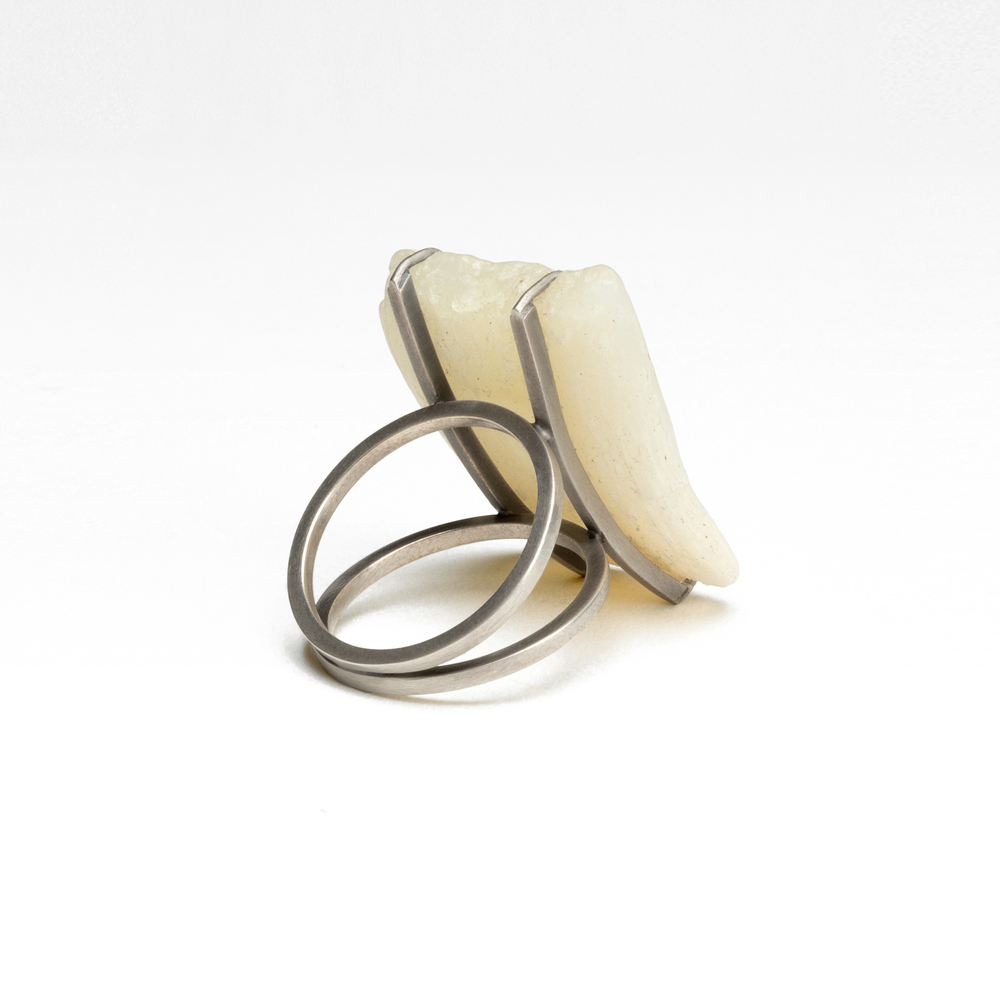 "Soap Ring , 2015. Dial, sterling silver. 1.25"" x 1"" x 1"""