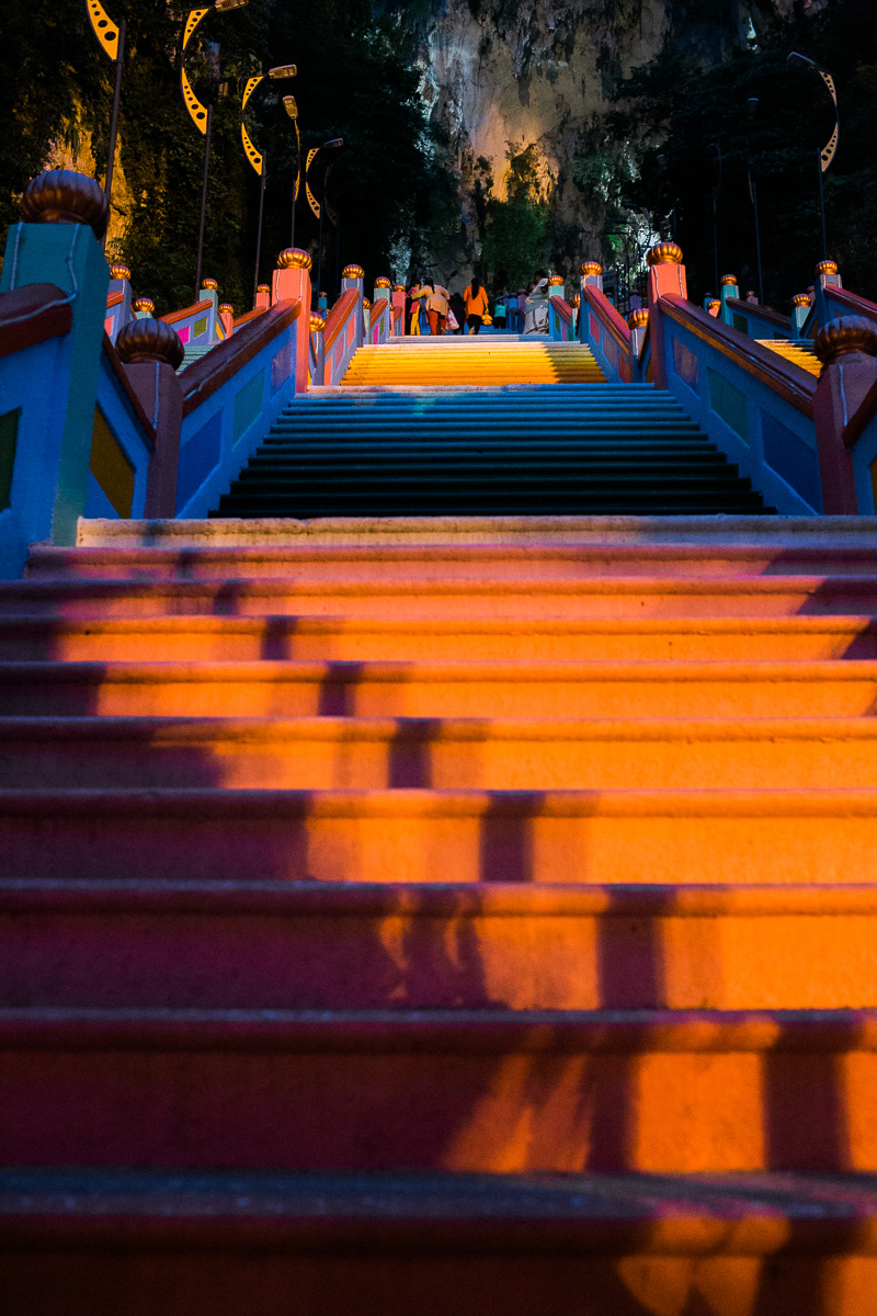 Colorful Batu Caves steps in the early morning by Kuala Lumpur photographer Erica Knecht