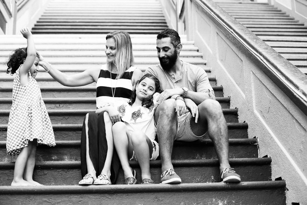 A family portrait in black and white in Kuala Lumpur