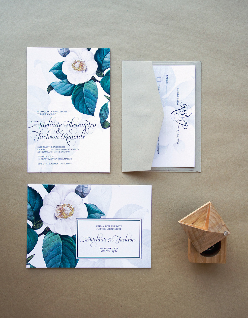 Green & White Floral Wedding Invitations