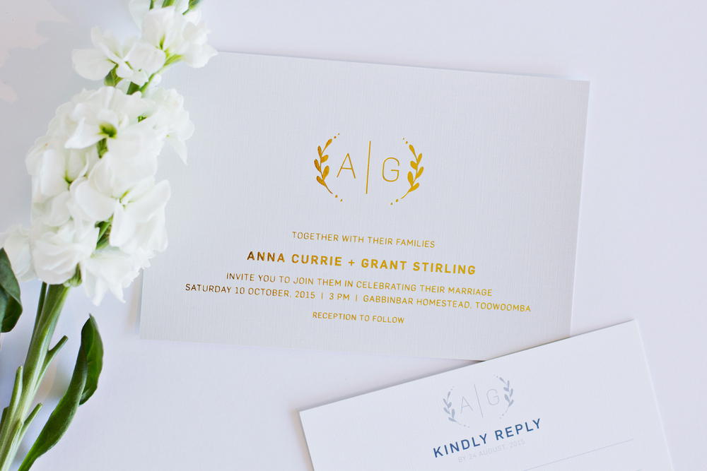 Grey & Gold Monogram Wedding Invitations