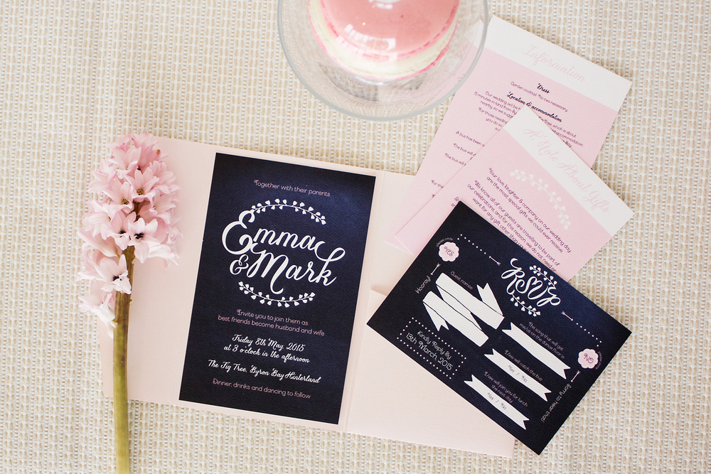 Navy Blue, Pink & White Wedding Invitations