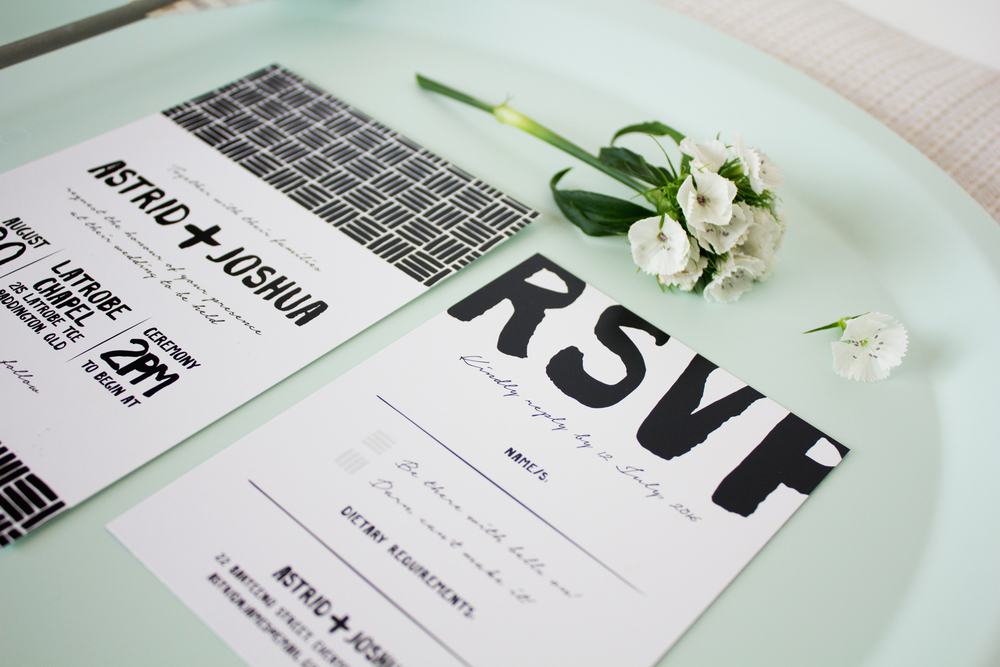 Black & White Painted Wedding Invitations