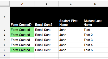 The Green cell values indicate the students who have completed the form and had their responses graded. Students 3 and 4 (row 4&5) have not completed the form yet.
