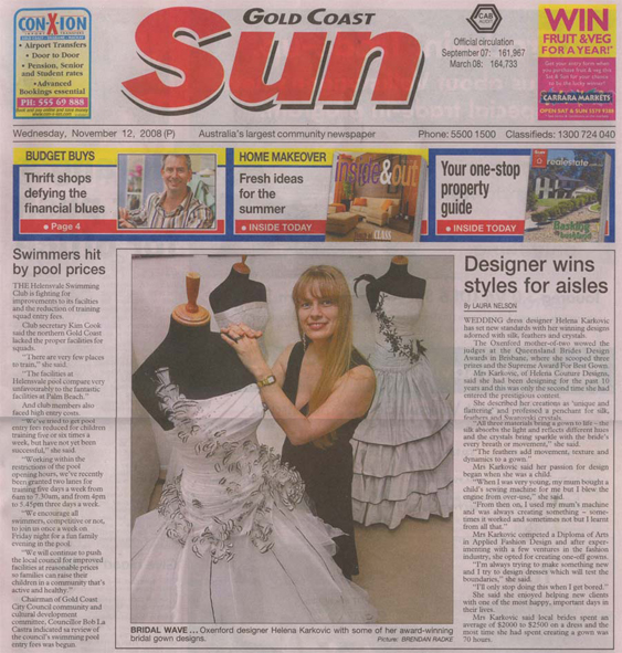Gold Coast Sun, Wednesday 12th November 2008