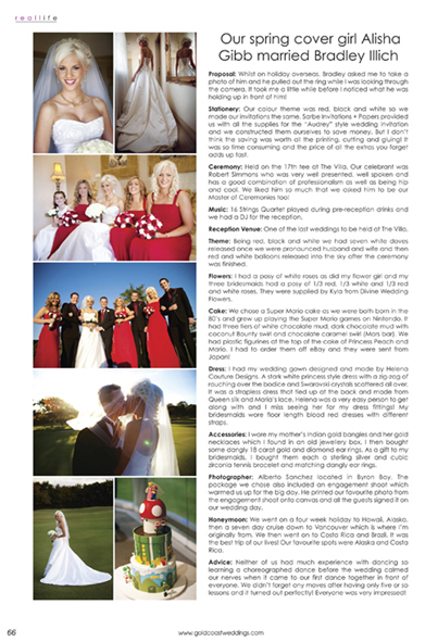 Gold Coast Weddings Magazine, Summer 2010