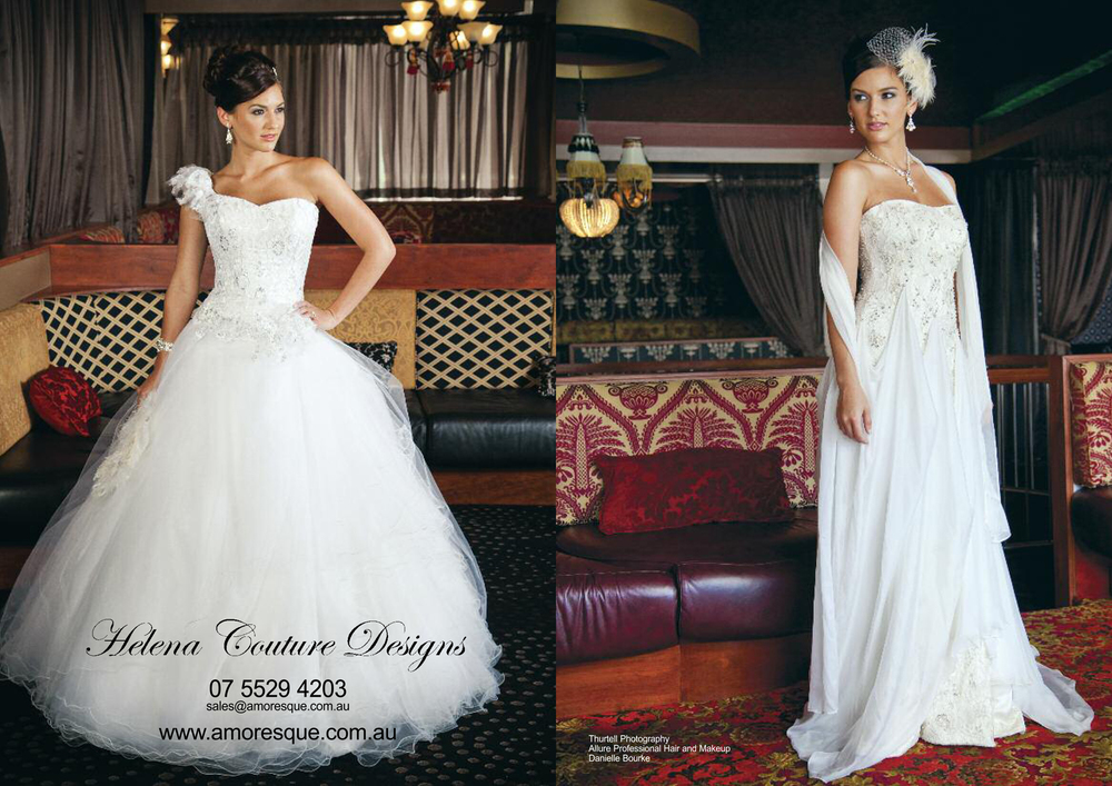 Gold Coast Weddings Magazine, Spring 2012   Here is our ad for Gold Coast Weddings Spring 2012, out next week.  Special thanks to Thurtell Photography, Allure Professional Hair and Make-up Artists and Danielle Bourke for such a fantastic photo shoot with Helena Couture Designs.