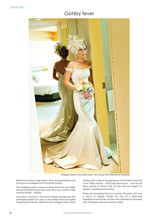 At Helena Couture Designs, we always seem to be ahead of fashion here in Australia, because while the vintage and Great Gatsby influenced is still strong, we were creating this look several years ago.  Here is Mrs Tatiana Forrester wearing a timeless Helena Couture Designs bridal gown, feather hair piece and jewellery, designed for her small frame for her wedding back in 2011  Photography – Annie from Fotoforce Photography      Gown – Helena Couture Designs