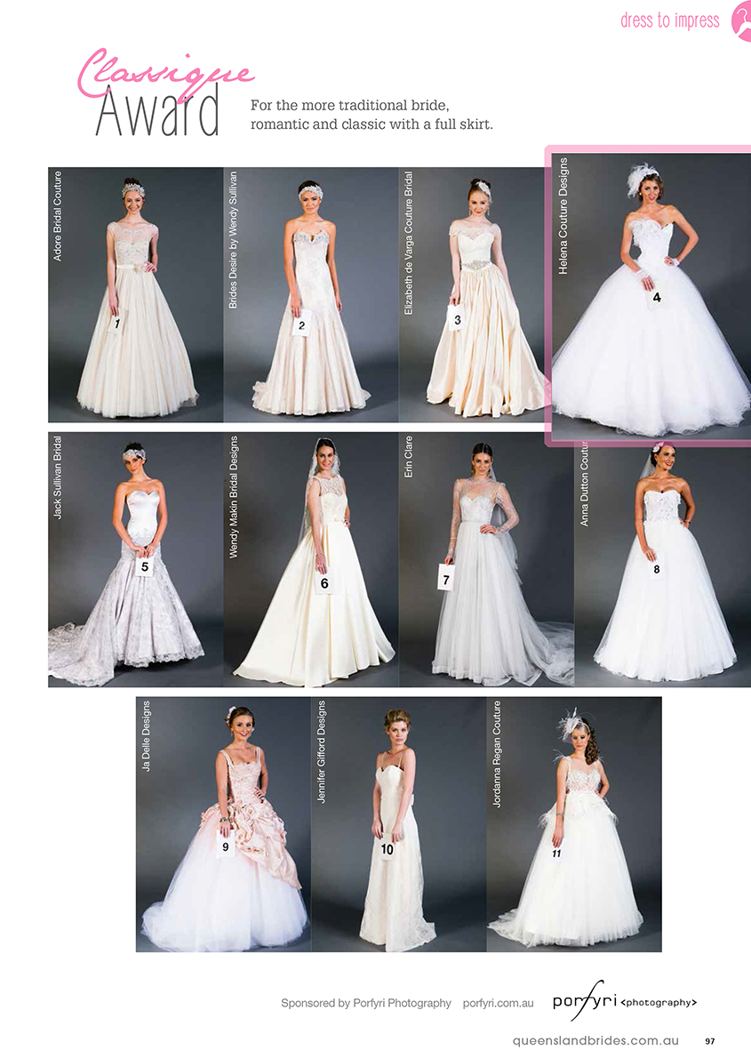 2014 QLD Brides Design Awards - Helena Couture Designs - Australian Multi Award Winning Bridal Label