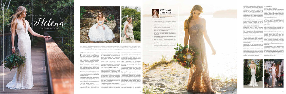 An interview with QLD Wedding and Bride Magazine.