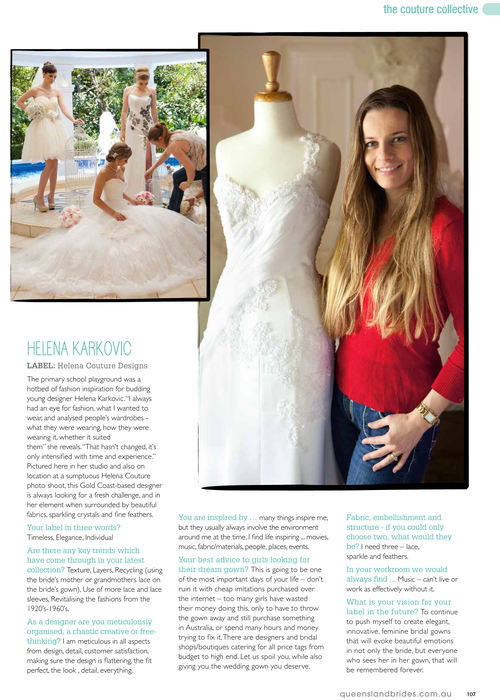 """Behind The Seams"" in QLD Brides Magazine Spring 2012."