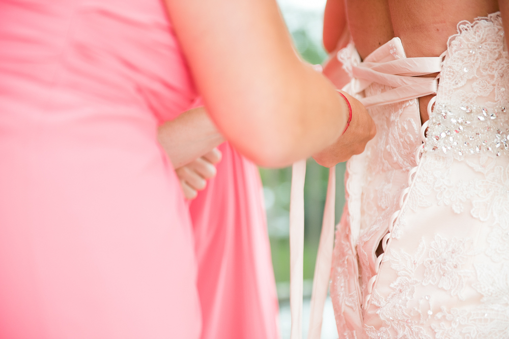 bride getting laced